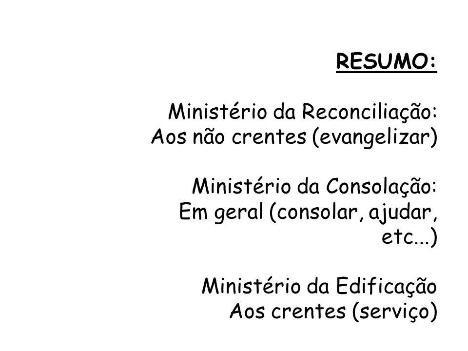 RESUMO: Ministério da Reconciliação: Aos não crentes (evangelizar) Ministério da Consolação: Em geral (consolar, ajudar, etc...) Ministério da Edifica