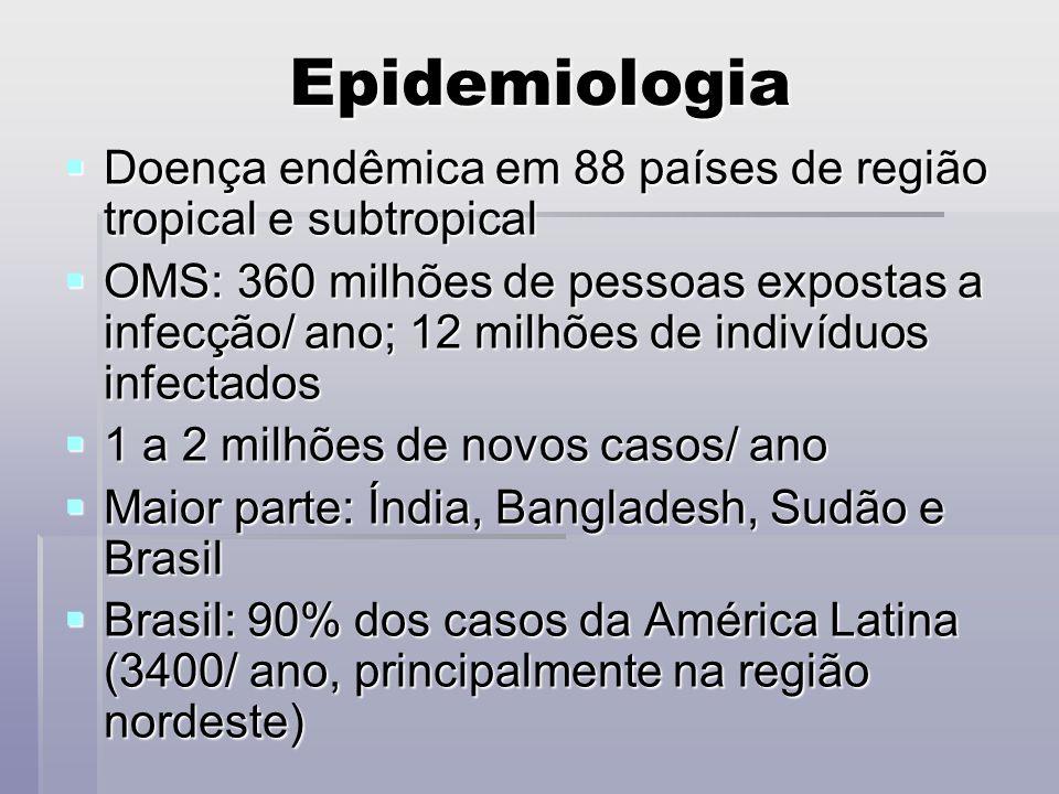 Epidemiologia Doença endêmica em 88 países de região tropical e subtropical Doença endêmica em 88 países de região tropical e subtropical OMS: 360 mil