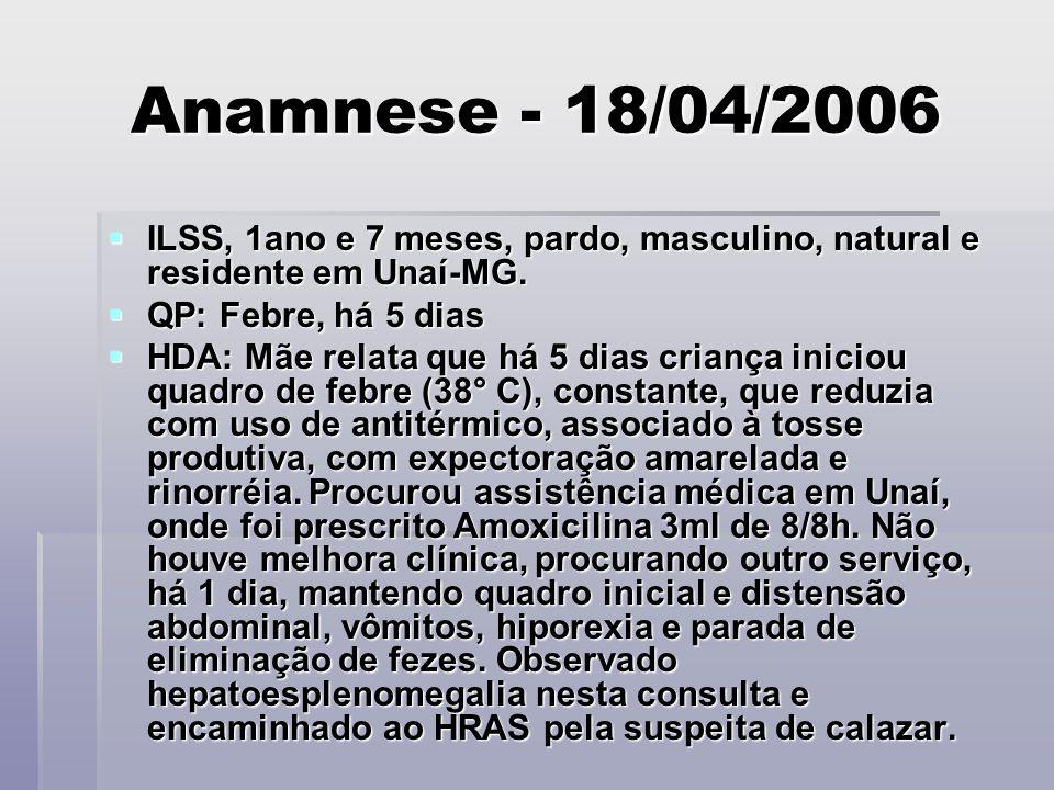 Anamnese - 18/04/2006 ILSS, 1ano e 7 meses, pardo, masculino, natural e residente em Unaí-MG. ILSS, 1ano e 7 meses, pardo, masculino, natural e reside
