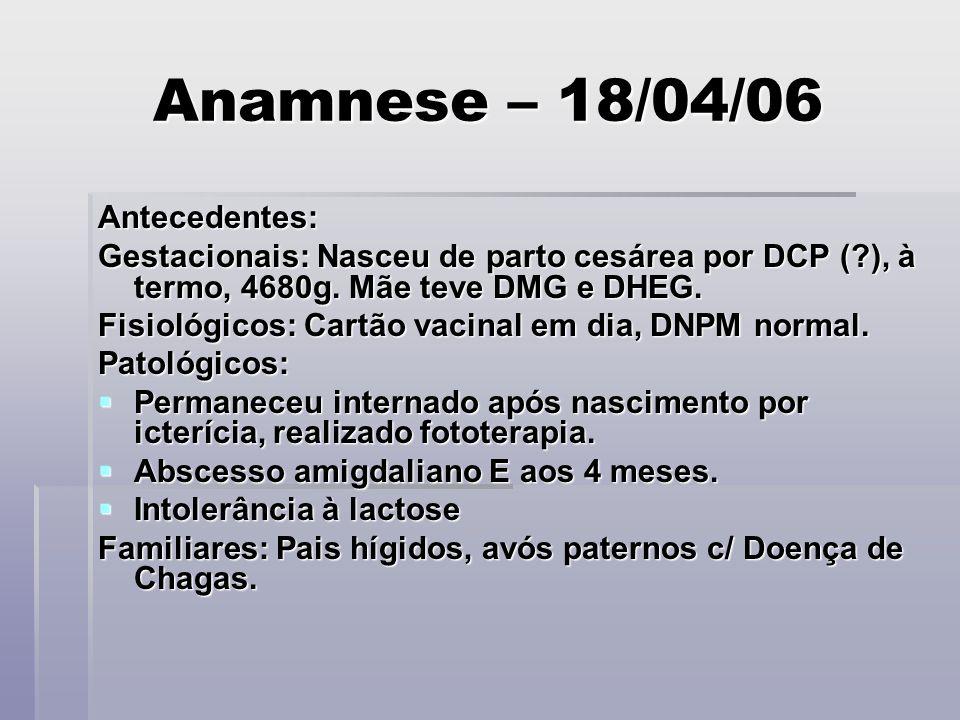 Anamnese – 18/04/06 Antecedentes: Gestacionais: Nasceu de parto cesárea por DCP (?), à termo, 4680g. Mãe teve DMG e DHEG. Fisiológicos: Cartão vacinal
