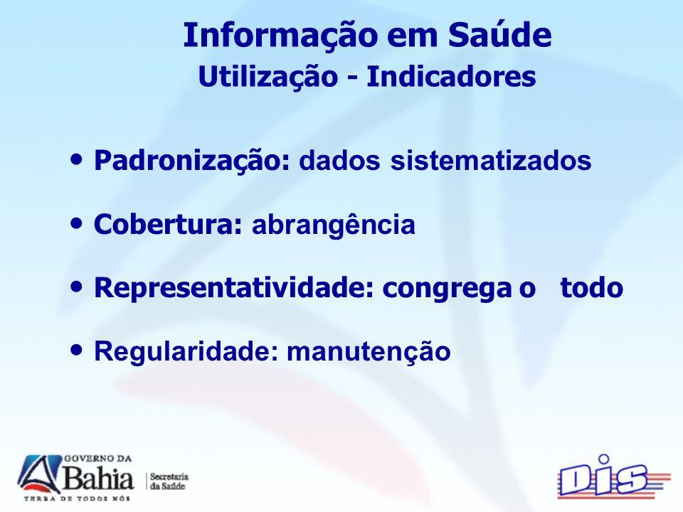 Informação em Saúde Utilização - Indicadores Padronização: dados sistematizados Cobertura: abrangência Representatividade: congrega o todo Regularidade: manutenção