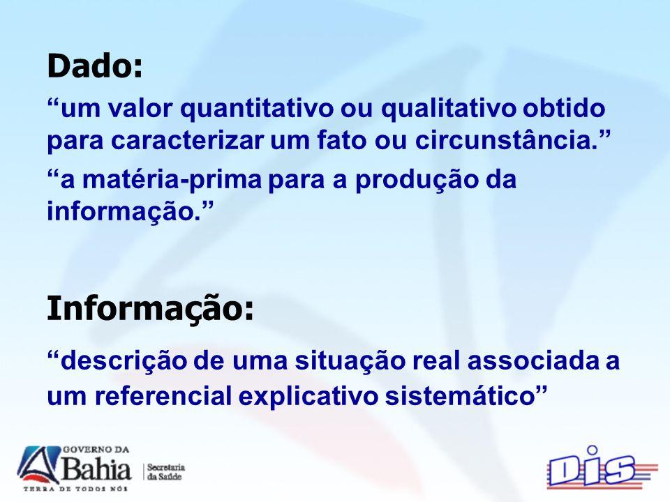 Dado: um valor quantitativo ou qualitativo obtido para caracterizar um fato ou circunstância.