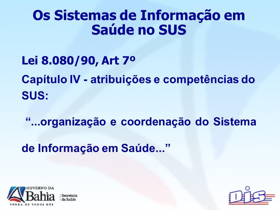 Os Sistemas de Informação em Saúde no SUS Lei 8.080/90, Art 7º Capítulo IV - atribuições e competências do SUS:...organização e coordenação do Sistema de Informação em Saúde...