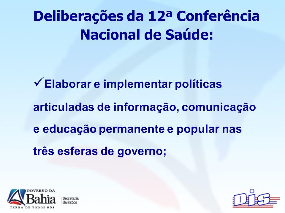 Deliberações da 12ª Conferência Nacional de Saúde: Elaborar e implementar políticas articuladas de informação, comunicação e educação permanente e popular nas três esferas de governo;