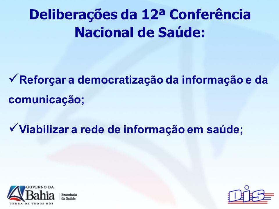 Deliberações da 12ª Conferência Nacional de Saúde: Reforçar a democratização da informação e da comunicação; Viabilizar a rede de informação em saúde;