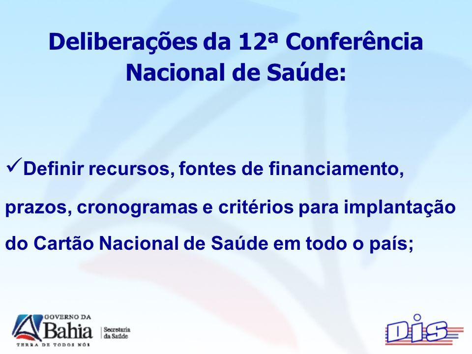 Deliberações da 12ª Conferência Nacional de Saúde: Definir recursos, fontes de financiamento, prazos, cronogramas e critérios para implantação do Cartão Nacional de Saúde em todo o país;