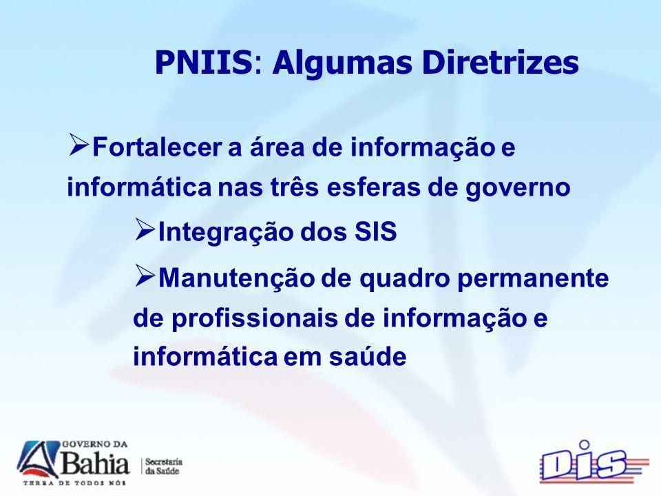 PNIIS: Algumas Diretrizes Fortalecer a área de informação e informática nas três esferas de governo Integração dos SIS Manutenção de quadro permanente de profissionais de informação e informática em saúde