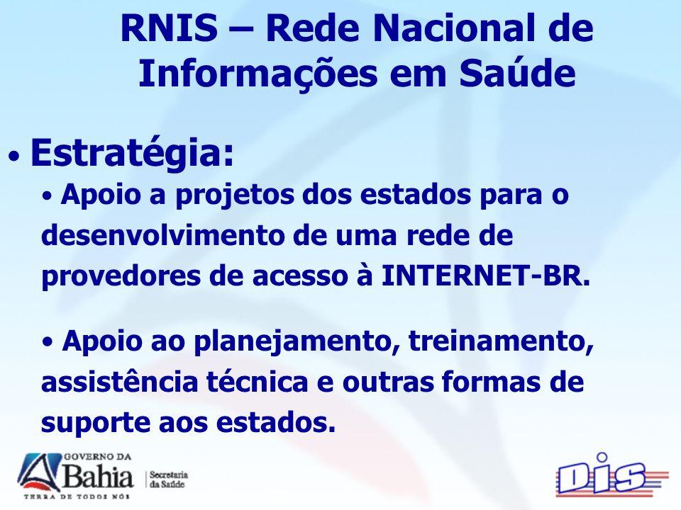 Estratégia: Apoio a projetos dos estados para o desenvolvimento de uma rede de provedores de acesso à INTERNET-BR.