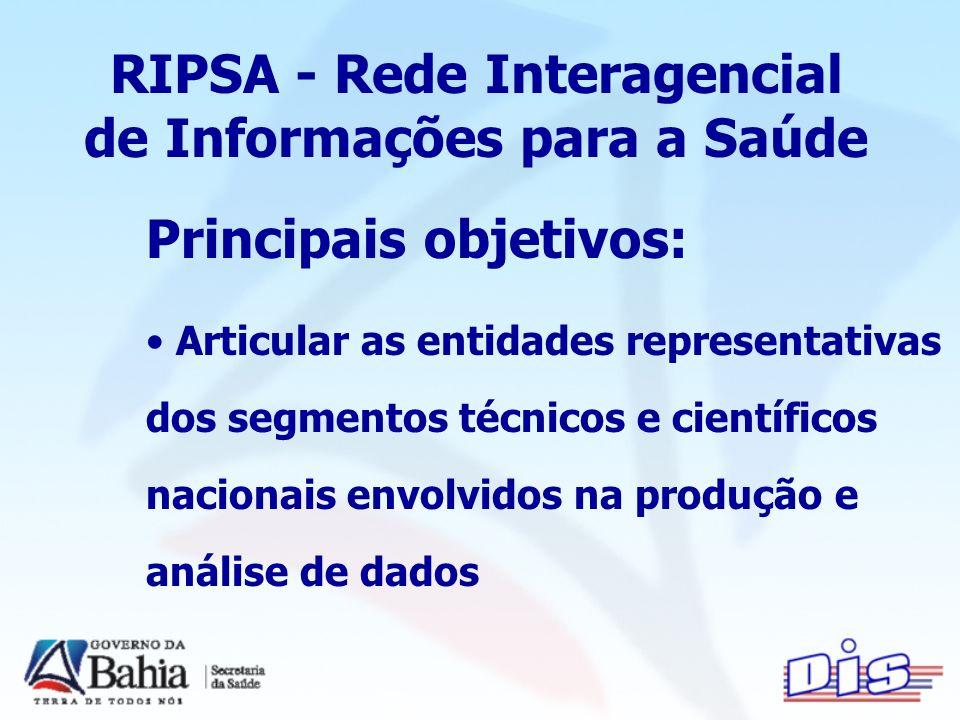 RIPSA - Rede Interagencial de Informações para a Saúde Principais objetivos: Articular as entidades representativas dos segmentos técnicos e científicos nacionais envolvidos na produção e análise de dados