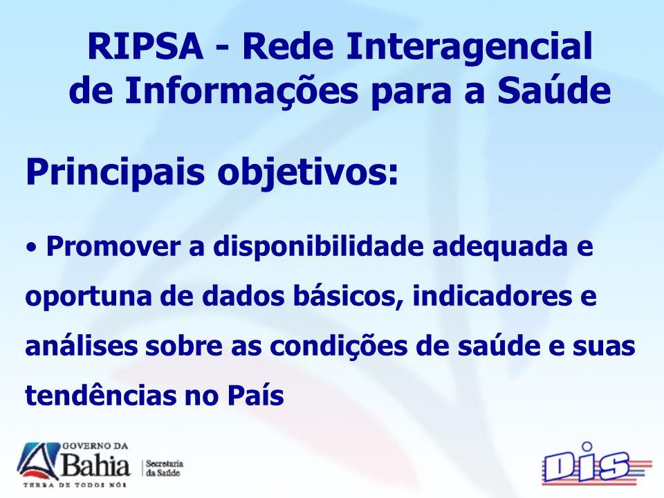 RIPSA - Rede Interagencial de Informações para a Saúde Principais objetivos: Promover a disponibilidade adequada e oportuna de dados básicos, indicadores e análises sobre as condições de saúde e suas tendências no País