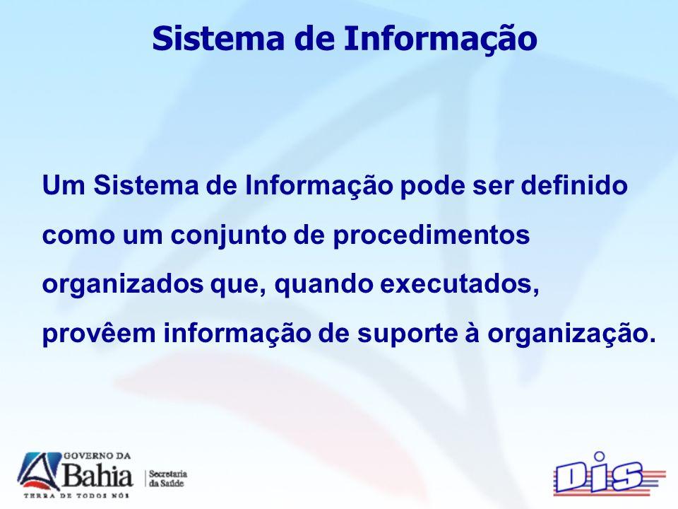 Sistema de Informação Um Sistema de Informação pode ser definido como um conjunto de procedimentos organizados que, quando executados, provêem informação de suporte à organização.