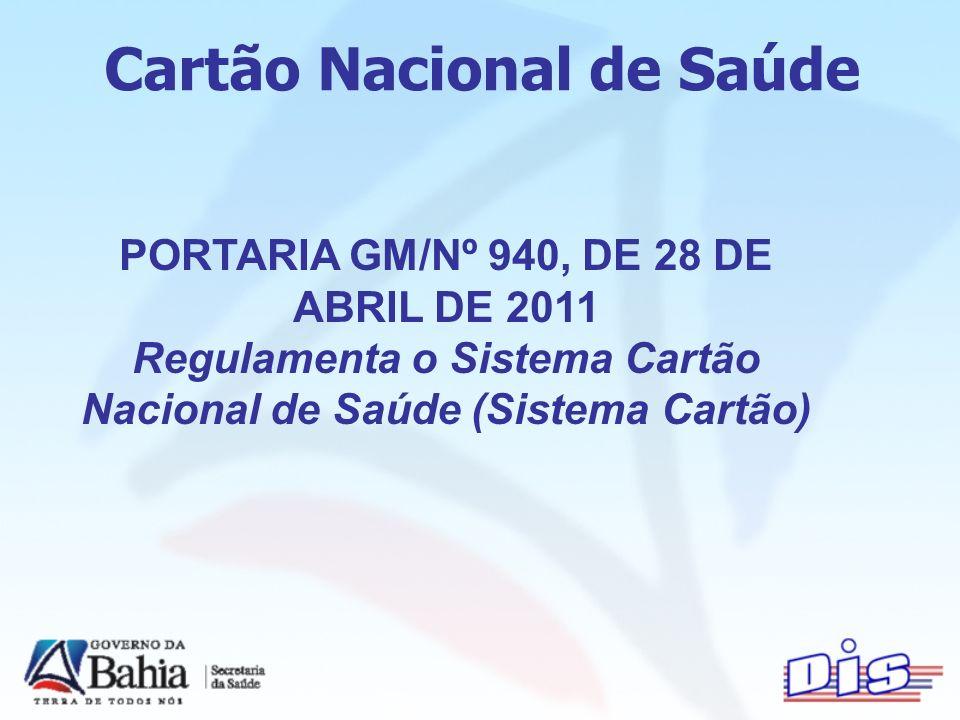 Cartão Nacional de Saúde PORTARIA GM/Nº 940, DE 28 DE ABRIL DE 2011 Regulamenta o Sistema Cartão Nacional de Saúde (Sistema Cartão)