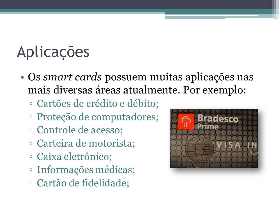 Aplicações Os smart cards possuem muitas aplicações nas mais diversas áreas atualmente.