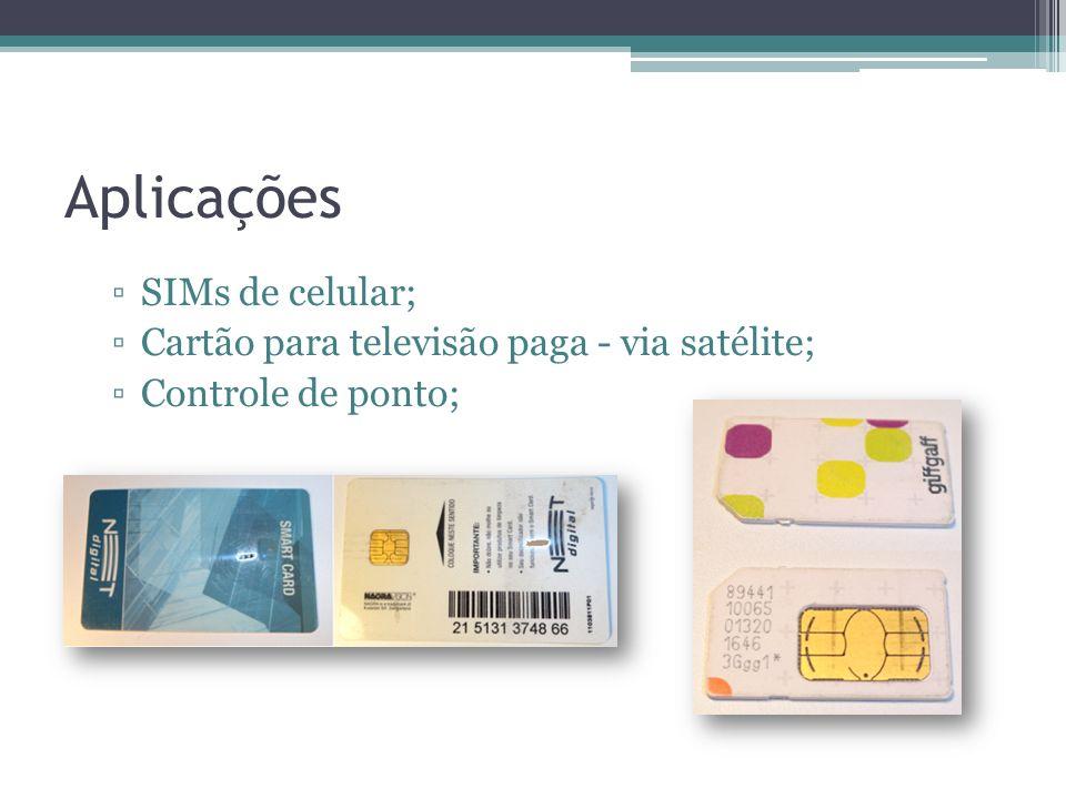 Aplicações SIMs de celular; Cartão para televisão paga - via satélite; Controle de ponto;