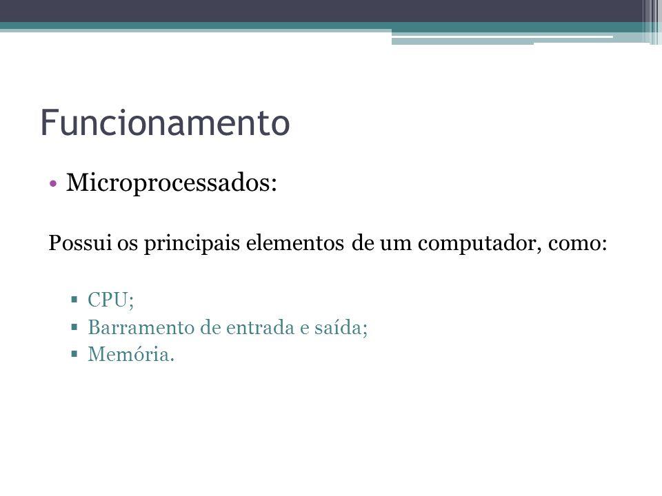 Funcionamento Microprocessados: Possui os principais elementos de um computador, como: CPU; Barramento de entrada e saída; Memória.
