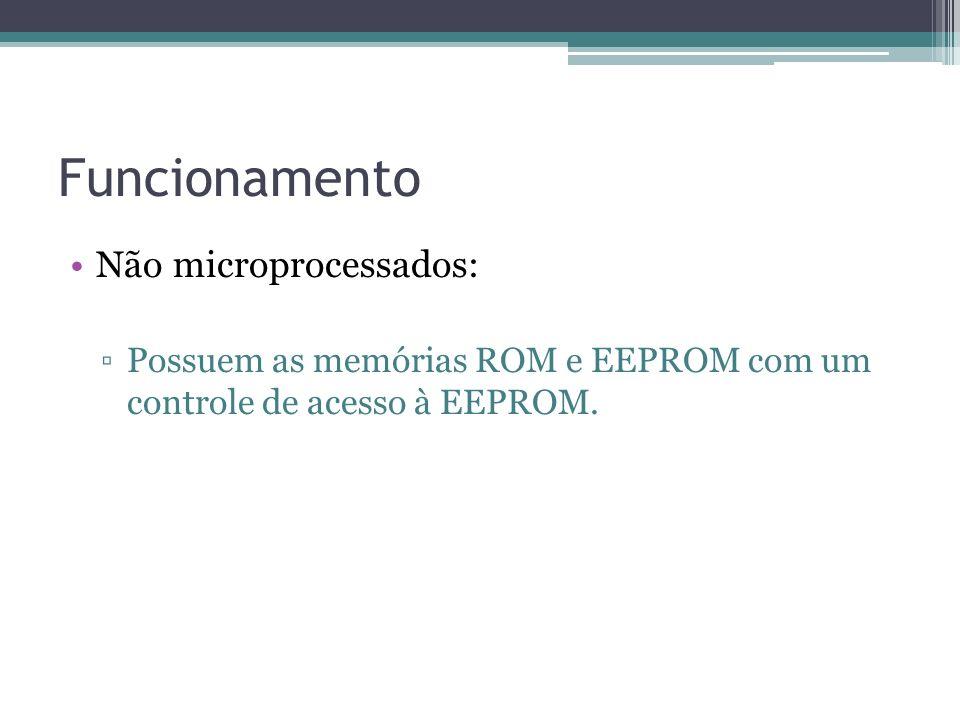 Funcionamento Não microprocessados: Possuem as memórias ROM e EEPROM com um controle de acesso à EEPROM.