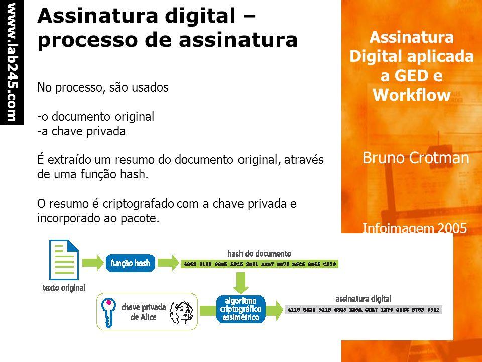 a a www.lab245.com Assinatura Digital aplicada a GED e Workflow Bruno Crotman Infoimagem 2005 Assinatura digital – chave pública e chave privada- Aute