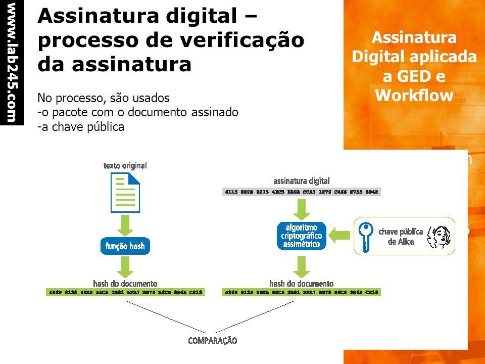 a a www.lab245.com Assinatura Digital aplicada a GED e Workflow Bruno Crotman Infoimagem 2005 Assinatura digital – processo de assinatura No processo,