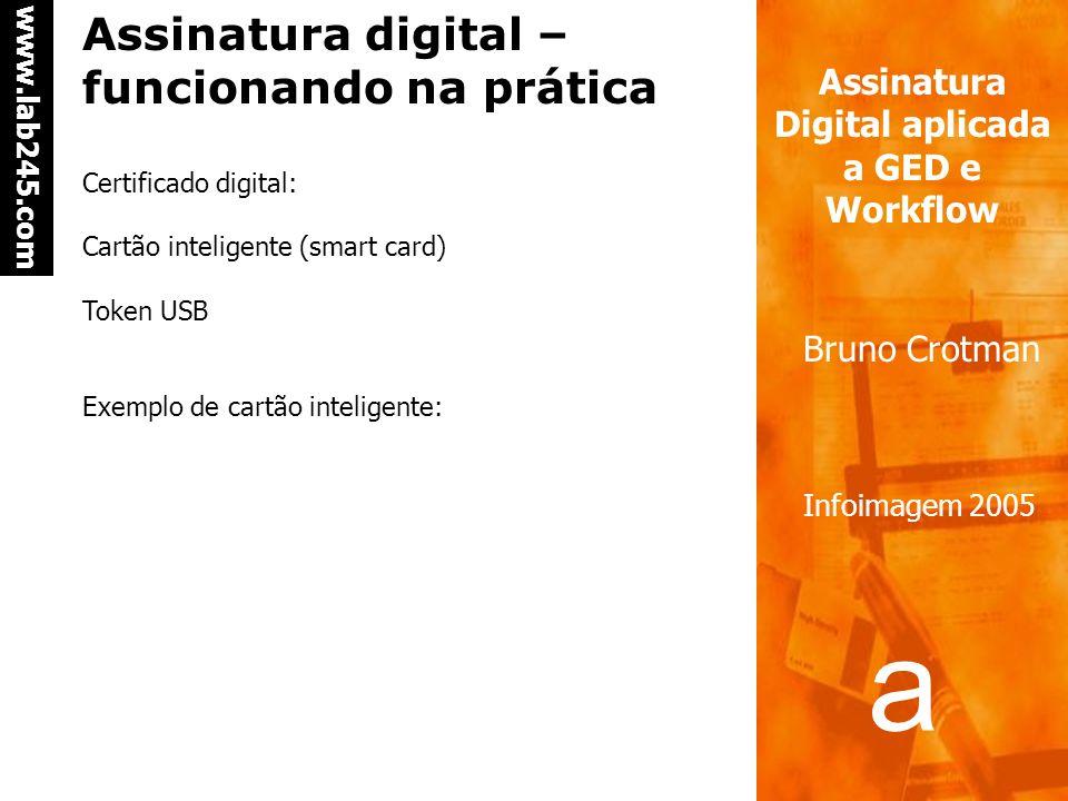 a a www.lab245.com Assinatura Digital aplicada a GED e Workflow Bruno Crotman Infoimagem 2005 Assinatura digital – processo de verificação da assinatu