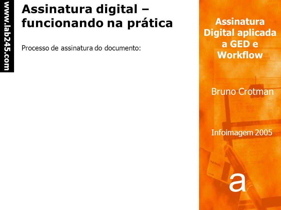 a a www.lab245.com Assinatura Digital aplicada a GED e Workflow Bruno Crotman Infoimagem 2005 Assinatura digital – funcionando na prática Certificado