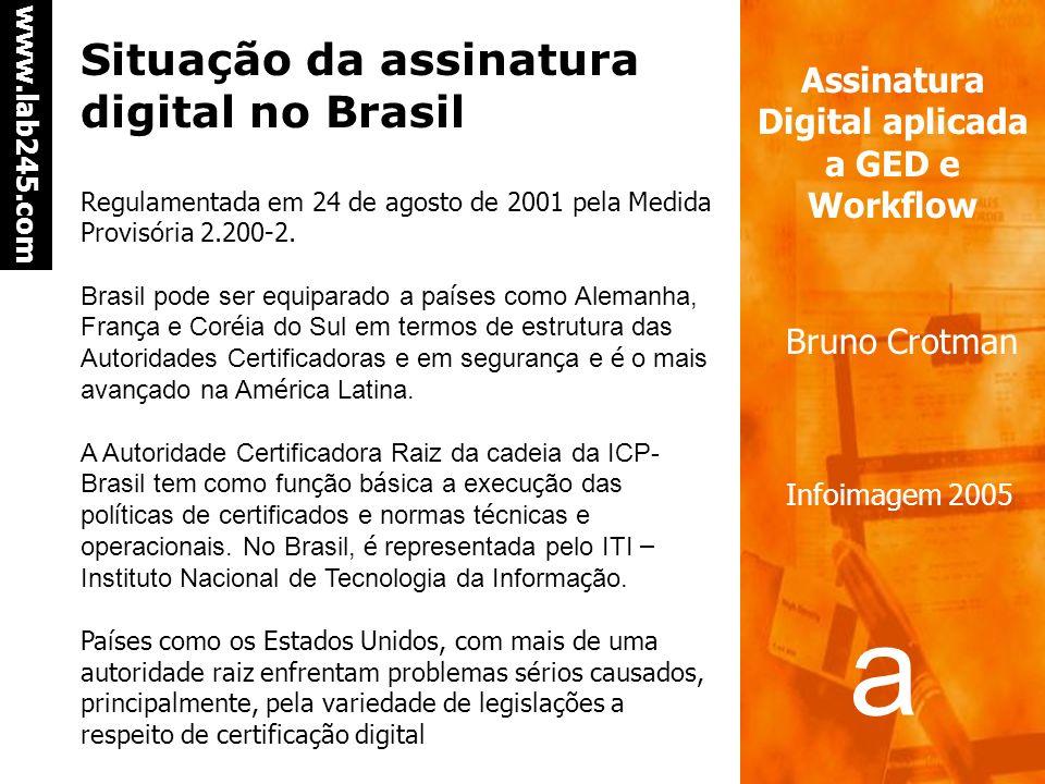 a a www.lab245.com Assinatura Digital aplicada a GED e Workflow Bruno Crotman Infoimagem 2005 Documentos em formato eletrônico Caso de documentos cria
