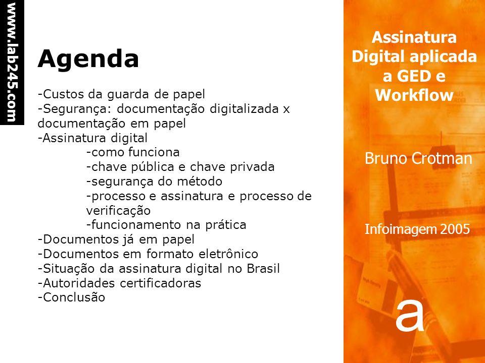 a a www.lab245.com Assinatura Digital aplicada a GED e Workflow Bruno Crotman Infoimagem 2005 Agenda -Custos da guarda de papel -Segurança: documentação digitalizada x documentação em papel -Assinatura digital -como funciona -chave pública e chave privada -segurança do método -processo e assinatura e processo de verificação -funcionamento na prática -Documentos já em papel -Documentos em formato eletrônico -Situação da assinatura digital no Brasil -Autoridades certificadoras -Conclusão