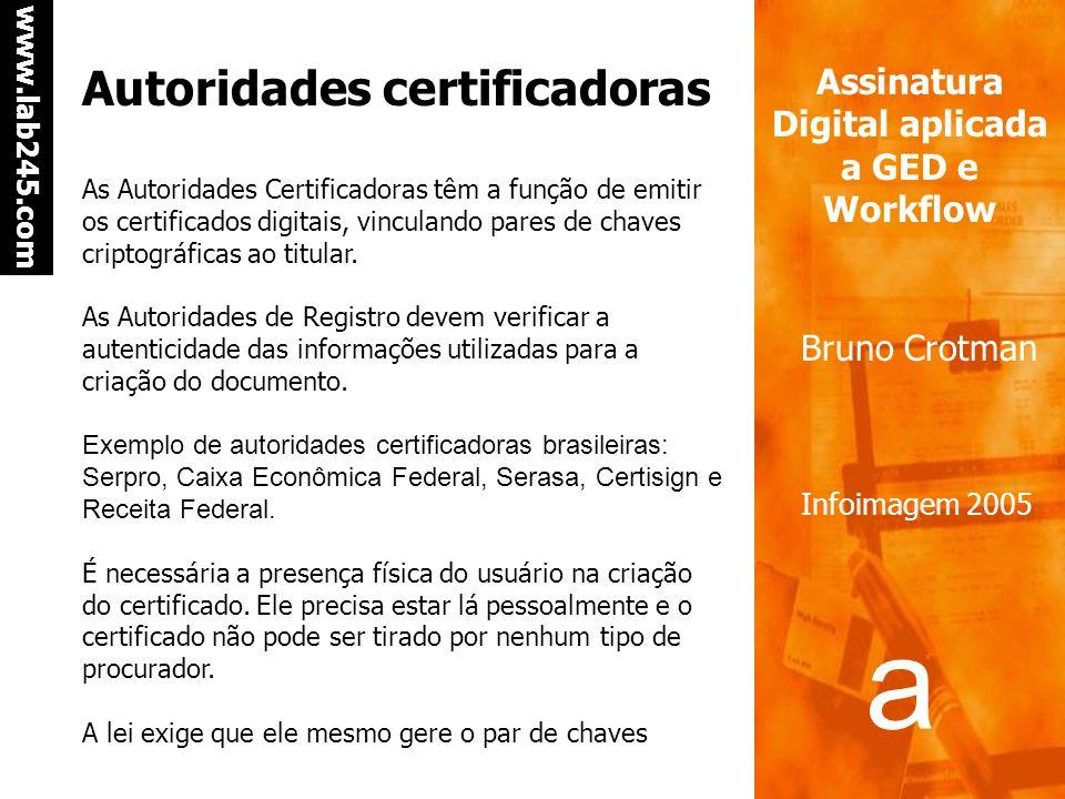 a a www.lab245.com Assinatura Digital aplicada a GED e Workflow Bruno Crotman Infoimagem 2005 Situação da assinatura digital no Brasil Regulamentada e