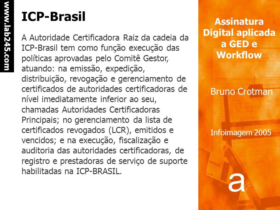 a a www.lab245.com Assinatura Digital aplicada a GED e Workflow Bruno Crotman Infoimagem 2005 Autoridades certificadoras As Autoridades Certificadoras