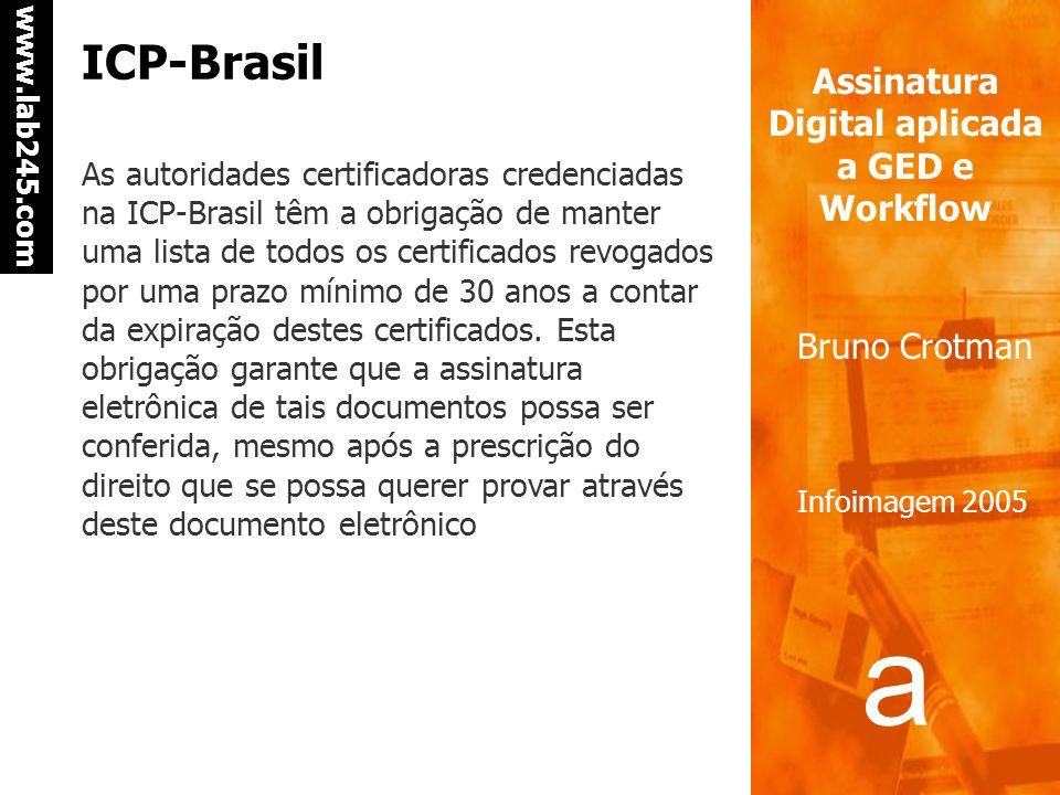 a a www.lab245.com Assinatura Digital aplicada a GED e Workflow Bruno Crotman Infoimagem 2005 ICP-Brasil A Autoridade Certificadora Raiz da cadeia da