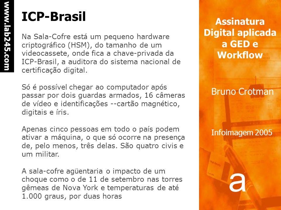 a a www.lab245.com Assinatura Digital aplicada a GED e Workflow Bruno Crotman Infoimagem 2005 ICP-Brasil As autoridades certificadoras credenciadas na