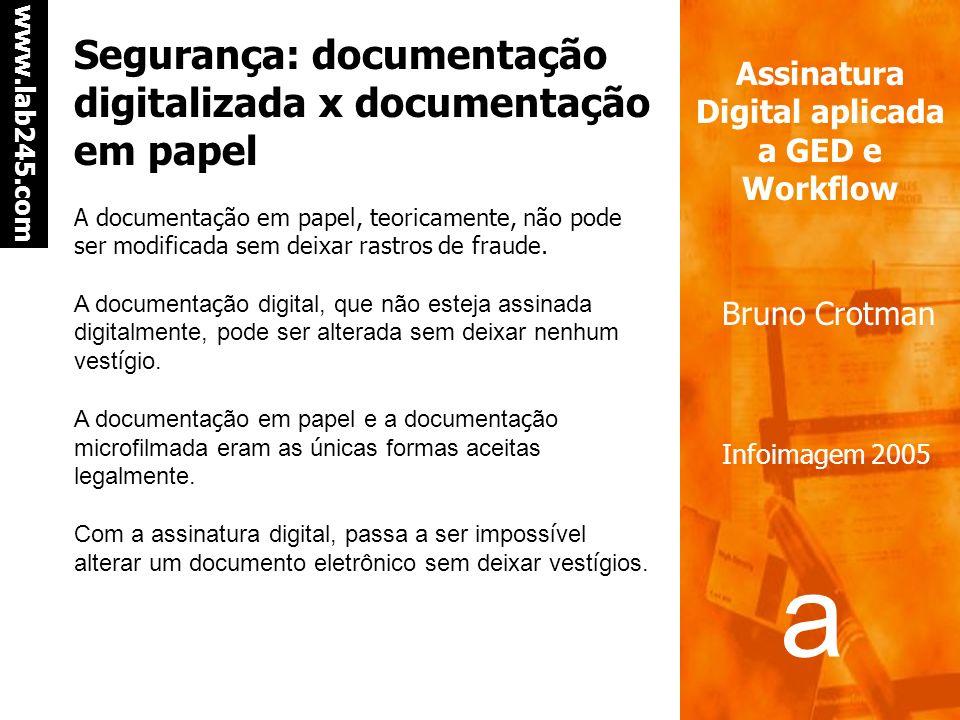 a a www.lab245.com Assinatura Digital aplicada a GED e Workflow Bruno Crotman Infoimagem 2005 Segurança: documentação digitalizada x documentação em papel A documentação em papel, teoricamente, não pode ser modificada sem deixar rastros de fraude.