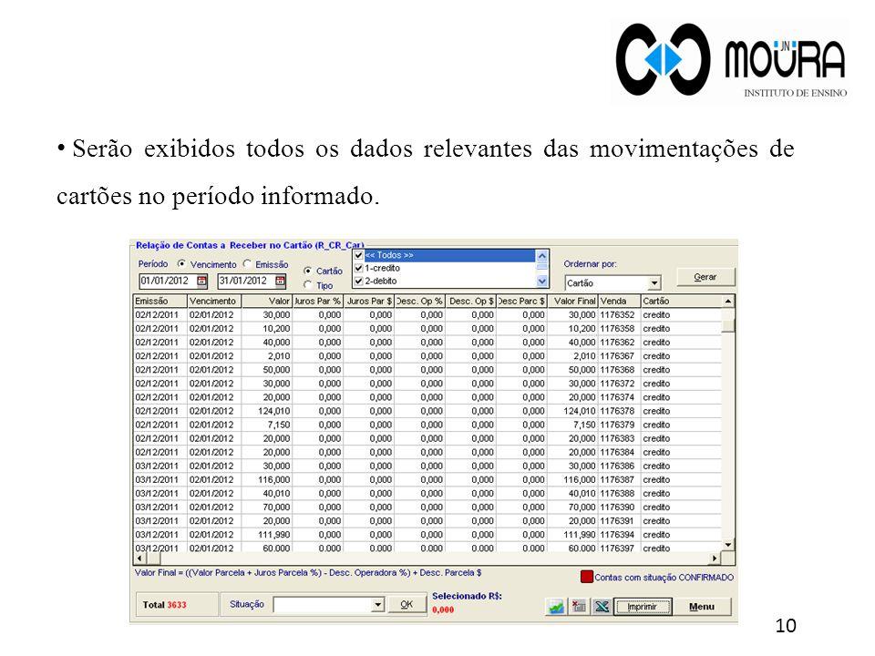 Serão exibidos todos os dados relevantes das movimentações de cartões no período informado. 10