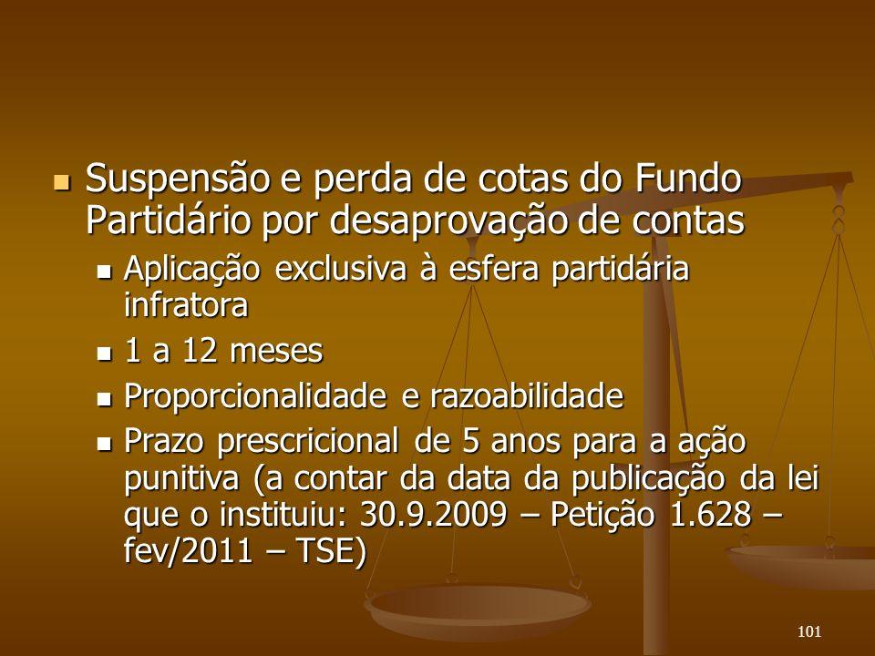 101 Suspensão e perda de cotas do Fundo Partidário por desaprovação de contas Suspensão e perda de cotas do Fundo Partidário por desaprovação de conta