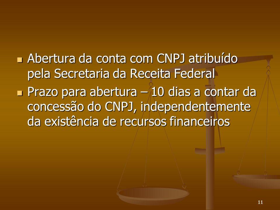 11 Abertura da conta com CNPJ atribuído pela Secretaria da Receita Federal Abertura da conta com CNPJ atribuído pela Secretaria da Receita Federal Pra