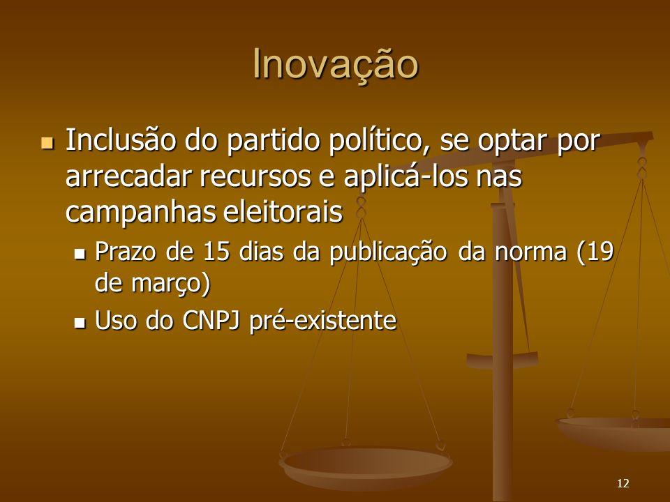 12 Inovação Inclusão do partido político, se optar por arrecadar recursos e aplicá-los nas campanhas eleitorais Inclusão do partido político, se optar
