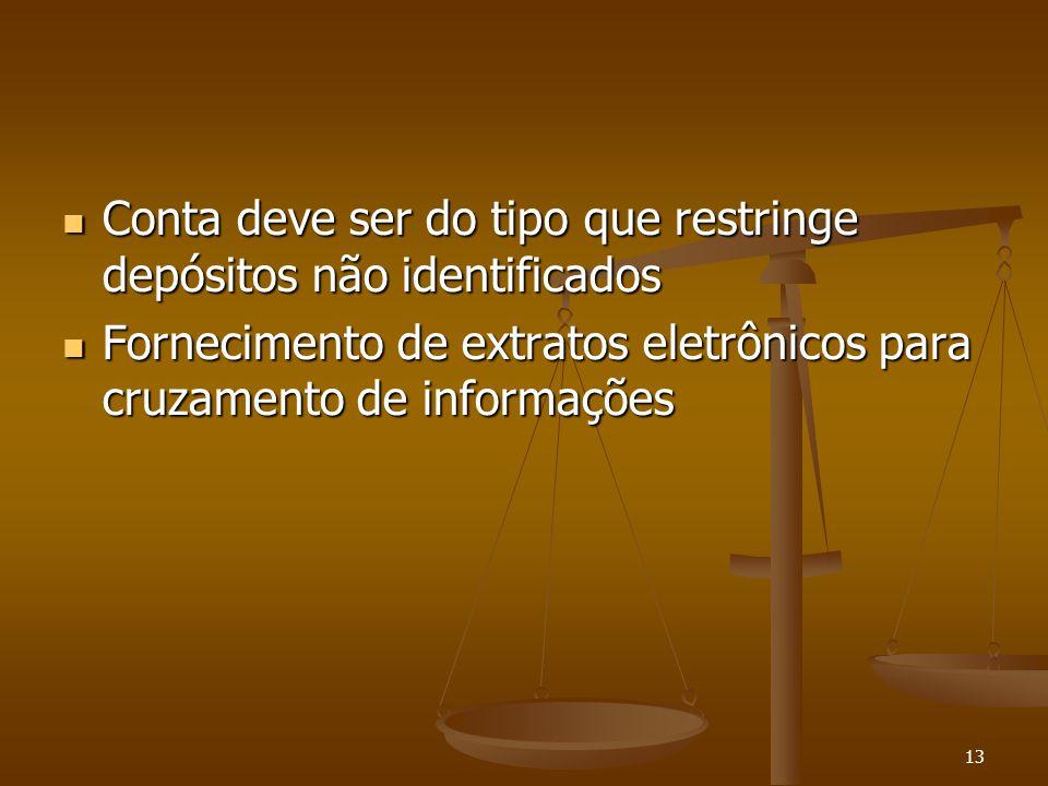 13 Conta deve ser do tipo que restringe depósitos não identificados Conta deve ser do tipo que restringe depósitos não identificados Fornecimento de e