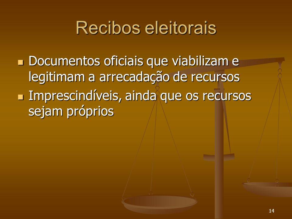 14 Recibos eleitorais Documentos oficiais que viabilizam e legitimam a arrecadação de recursos Documentos oficiais que viabilizam e legitimam a arreca