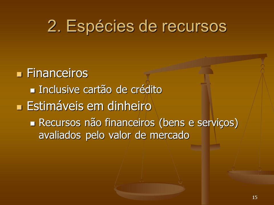 15 2. Espécies de recursos Financeiros Financeiros Inclusive cartão de crédito Inclusive cartão de crédito Estimáveis em dinheiro Estimáveis em dinhei