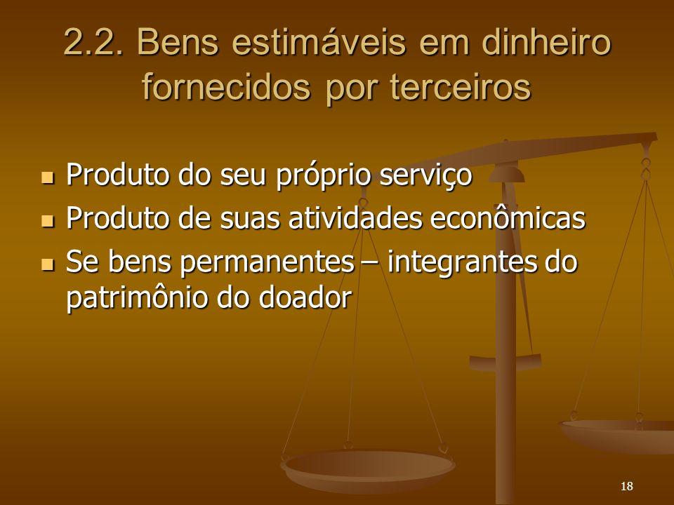 18 2.2. Bens estimáveis em dinheiro fornecidos por terceiros Produto do seu próprio serviço Produto do seu próprio serviço Produto de suas atividades