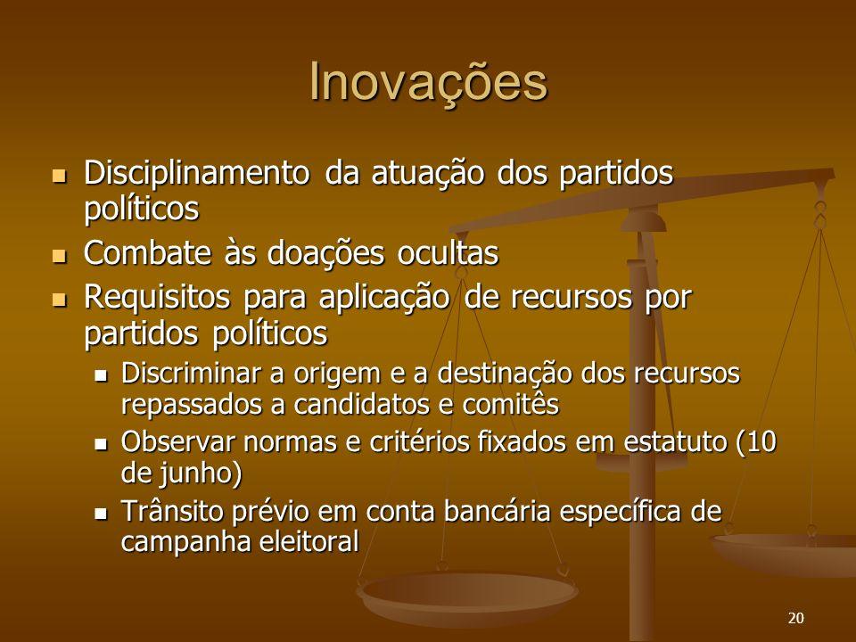 20 Inovações Disciplinamento da atuação dos partidos políticos Disciplinamento da atuação dos partidos políticos Combate às doações ocultas Combate às