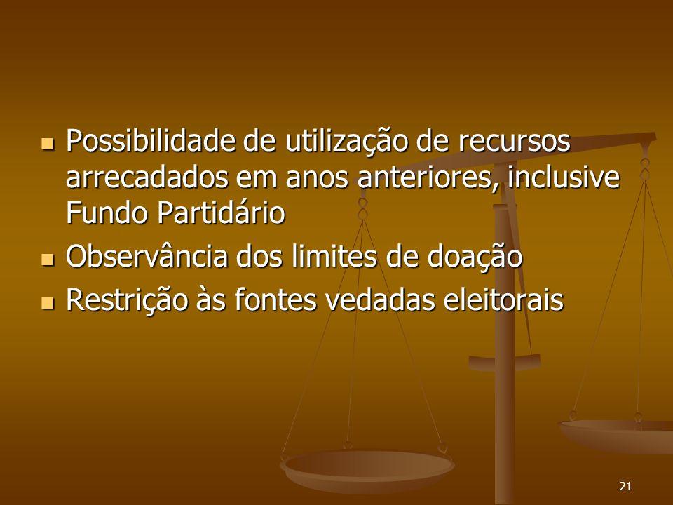 21 Possibilidade de utilização de recursos arrecadados em anos anteriores, inclusive Fundo Partidário Possibilidade de utilização de recursos arrecada