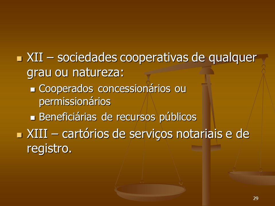 29 XII – sociedades cooperativas de qualquer grau ou natureza: XII – sociedades cooperativas de qualquer grau ou natureza: Cooperados concessionários