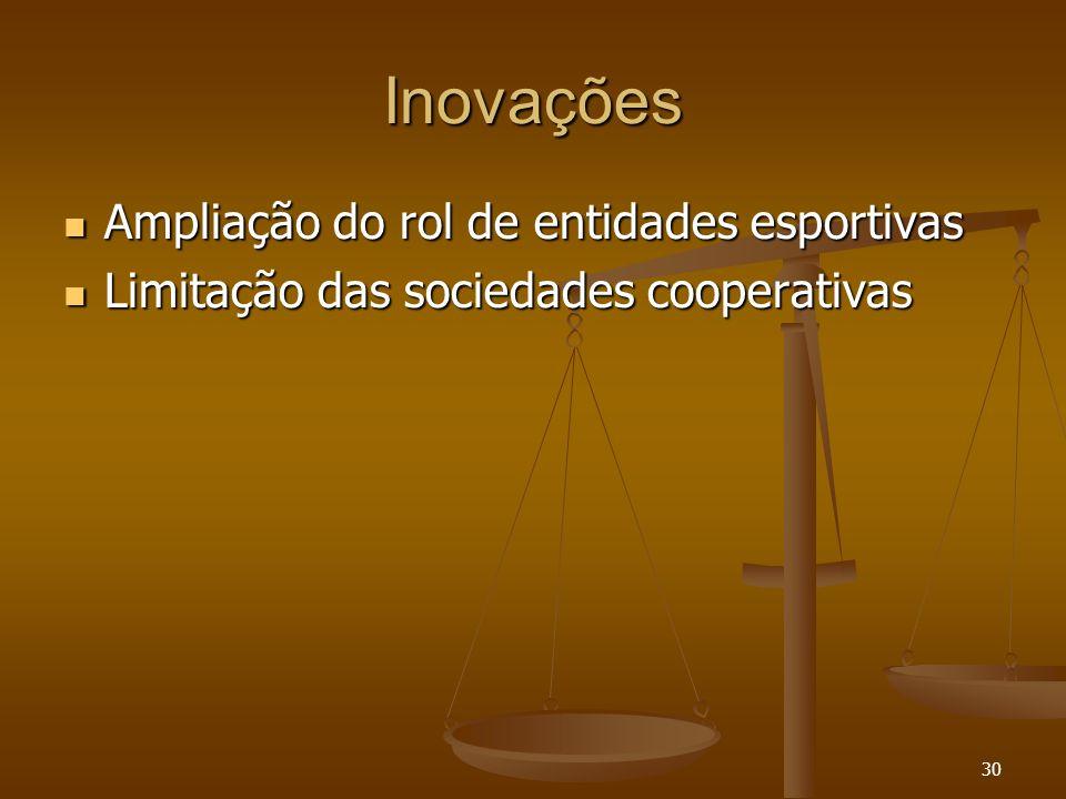 30 Inovações Ampliação do rol de entidades esportivas Ampliação do rol de entidades esportivas Limitação das sociedades cooperativas Limitação das soc