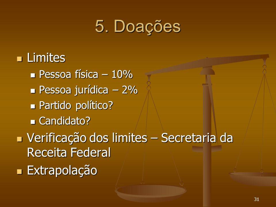 31 5. Doações Limites Limites Pessoa física – 10% Pessoa física – 10% Pessoa jurídica – 2% Pessoa jurídica – 2% Partido político? Partido político? Ca
