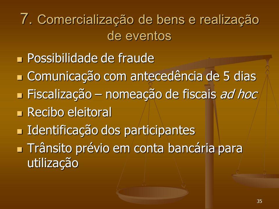 35 7. Comercialização de bens e realização de eventos Possibilidade de fraude Possibilidade de fraude Comunicação com antecedência de 5 dias Comunicaç