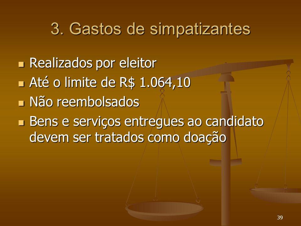 39 3. Gastos de simpatizantes Realizados por eleitor Realizados por eleitor Até o limite de R$ 1.064,10 Até o limite de R$ 1.064,10 Não reembolsados N