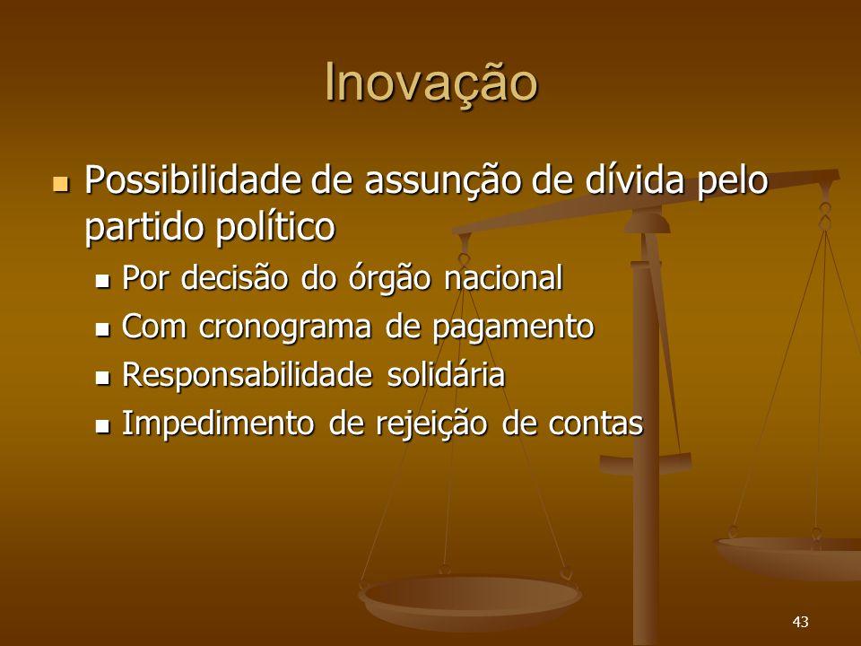 43 Inovação Possibilidade de assunção de dívida pelo partido político Possibilidade de assunção de dívida pelo partido político Por decisão do órgão n