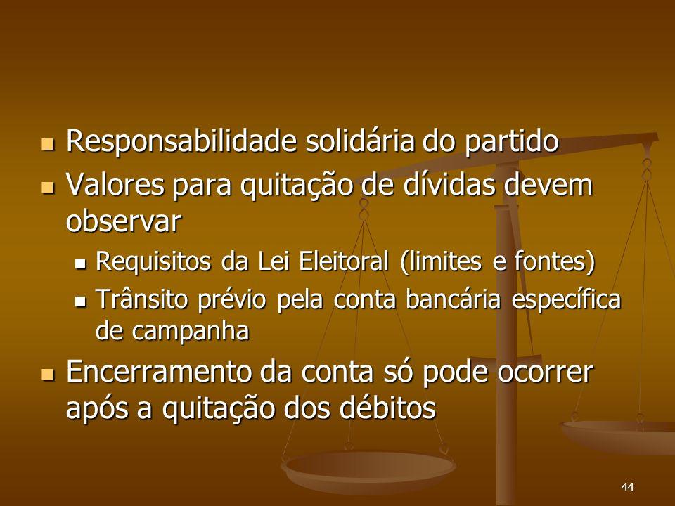 44 Responsabilidade solidária do partido Responsabilidade solidária do partido Valores para quitação de dívidas devem observar Valores para quitação d