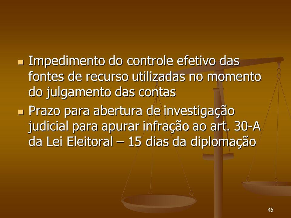 45 Impedimento do controle efetivo das fontes de recurso utilizadas no momento do julgamento das contas Impedimento do controle efetivo das fontes de
