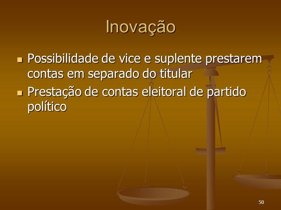 50 Inovação Possibilidade de vice e suplente prestarem contas em separado do titular Possibilidade de vice e suplente prestarem contas em separado do